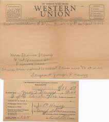 1943 western union wire from her son sgt joseph p henry requesting 50 and the western union money order receipt for sending him the money