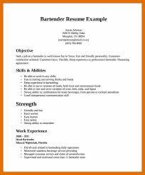 8 9 Bartender Resume Sowtemplate