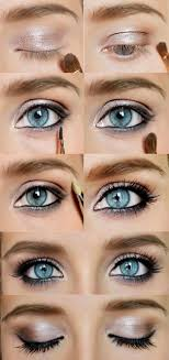 description how to do y blue eyes makeup gold eyeshadow
