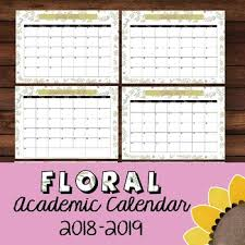 Monthly Academic Calendar Floral Chic Monthly Academic Calendar 2018 2019