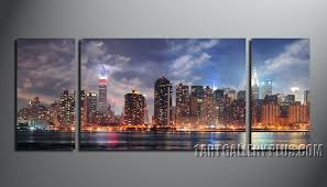 new york city canvas. Plain Canvas 3 Piece Canvas Print Home Decor Blue Photo Canvas New York City Artwork With New York City Canvas P