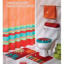 Rainbow Piece Bathroom Accessory Set In Orange Bathroom