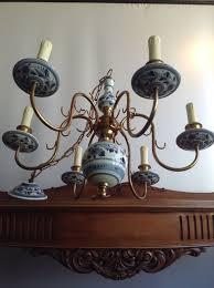 delft blue hand painted 6 arm brass chandelier