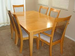 maple dining room table set w 6 chairs and removable