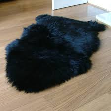 black sheepskin rug single