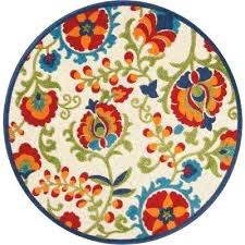 aloha multi 5 ft x round indoor outdoor area rug colored geometric rugs n