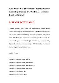 2000 arctic cat snowmobile service repair workshop manual v 2000 arctic cat snowmobile service repairworkshop manual volume1 and volume 2 instant original