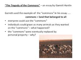 chapter introduction to environmental science ppt  the tragedy of the commons an essay by garrett hardin