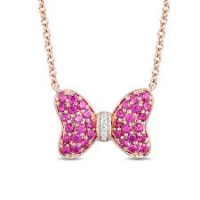 mickey mouse minnie mouse garnet and diamond accent bow necklace in 10k rose gold 17 3