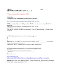 Diffusion And Osmosis Lab Report Diffusion Osmosis Virtual Lab