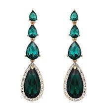 brilove wedding bridal dangle earrings for women elegant multi teardrop long chandelier earrings emerald color gold toned