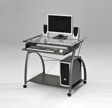 acme 00118 vincent metal and glass computer desk with clear glass top and slide out keyboard