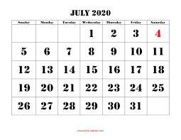 Calendar July 2020 Printable Free Download Printable July 2020 Calendar Large Font