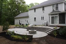 fire pit and patio stairs