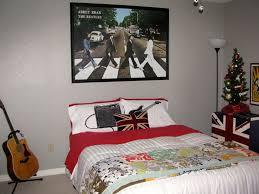 Interior:Excellent Music Theme Bedroom In Britpop Style With The Beatles  Picture Also Red And