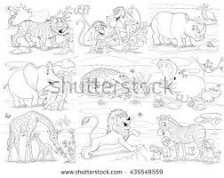 Small Picture Zoo African Animals Cute Tiger Monkeys Stock Illustration
