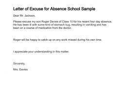 absence from school letter letter of excuse