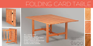 amazing of wood folding card table wooden folding collapsible amp live edge furniture made in vt