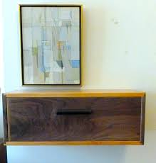 walnut and cherry floating wall shelf with drawer night stand console