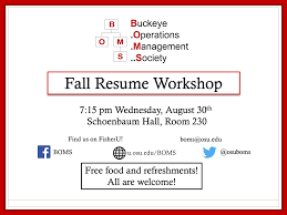 Resume Book Fall Resume Workshop Buckeye Operations Management Society 69