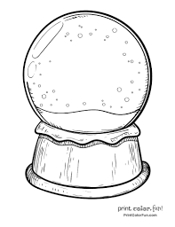Blank Snow Globe Coloring Page Print Color Fun