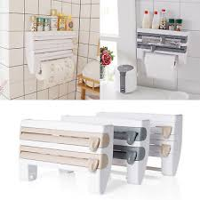 kitchen towel holder wall mounted. 4-in-1 Kitchen Roll Dispenser Cling Film Tin Foil Towel Holder Rack Wall Mounted