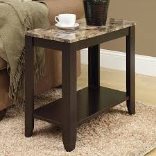 monarch specialties cappuccino faux marble casual end table