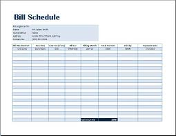 Home Finance Bill Organizer 2015 Bill Payment Schedule Template Word Excel Templates