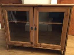solid pine tv cabinet with glass doors from ikea quick