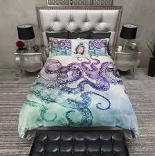 modern watercolor octopus duvet bedding sets  ink and rags