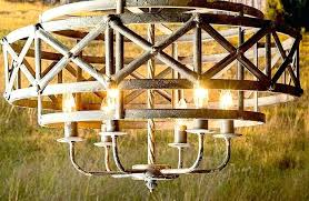 rustic industrial chandelier huge wooden beam antique