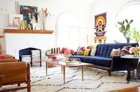 after bright colorful living room emily henderson west elm souk rug blue couch for the homeland pinterest living rooms blue couches and couch bohemian living room furniture