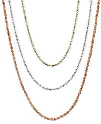 Chain Inches Chart 18 30 Rope Chain Necklaces In 14k Gold White Gold Or Rose Gold