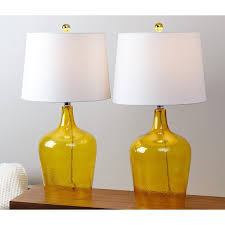 lamps clear glass table lamps glass jug lamp two white lamps shade with two yellow