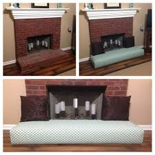 baby proof fireplace by turning into a couch and put glass in the fireplace so