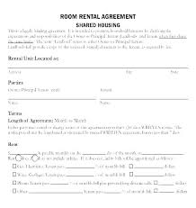 Room Rental Contract Bedroom Rental Agreement Form Room Doc Roommate Sample Blank