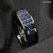 8 6mm tungsten carbide ring black celtic dragon blue carbon fibre atop jewelry