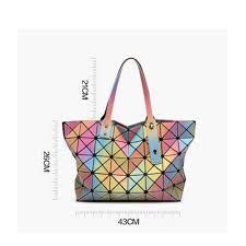 Japanese Designer Bag Geometric Amazon Com Laser 7 8 Rainbow Gradient 3d Handbags Japanese