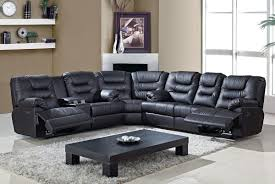 Black Leather Sectional Sofa With Recliner Living Room Trenton Power Reclining Sectional Sofa Sofas With