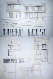 modern house drawing perspective floor plans design architecture student