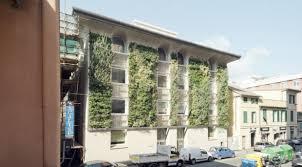 office facade. INPS Green Facade On A Public Institution Office Building, Genoa, Sestri Ponente, Italy. Photo: Anna Positano.
