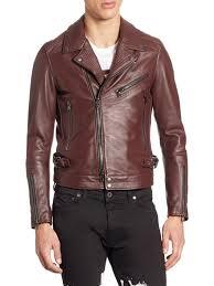 sel black gold lorenzo slim fit leather jacket red men coats jackets shearling