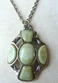 vintage celtic cross green stone necklace 885 p jpg