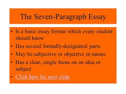 the seven paragraph essay ppt the seven paragraph essay