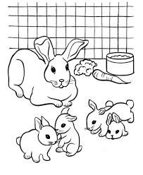 Small Picture Coloring Pages For Kids Rabbit And Babies Drawing Rabbits