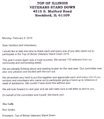 Stand Down 2015 thank you letter