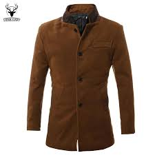 whole 2016 mens fashion trench coat autumn winter single ted design wool jacket windbreaker men overcoat dark brown color from china