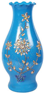 15 blue flower vase with fl glass gems handmade decorative flower pot in bulk at whole