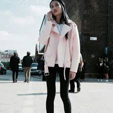 jacket on point clothing neoprene faux leather light pink baby pink pastel dope stylish style cute girly casual urban pink coat jeans