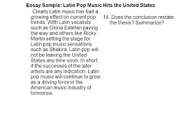 essay sample latin pop music hits the united states since the  essay sample latin pop music hits the united states clearly latin music has had a